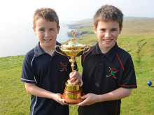 Ryder Cup Trophy stops by Whalsay Golf Club