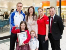 Paralympic medallist Harriet Lee and Olympic hero Robbie Renwick commend brave youngster at Vision Express event