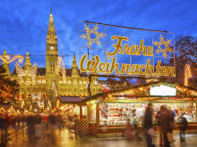 Colourful lights of the magical Christmas Market in Vienna