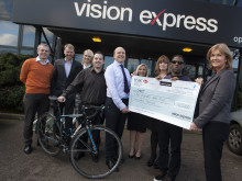 Eye cancer charity accepts £105,000 boost from Vision Express fundraising drive