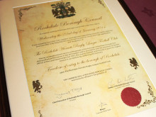 The Rochdale Hornets Freedom of the Borough Scroll