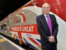 Vince Cable welcomes Business is GREAT Train at London Euston