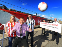 BACK OF THE NET! NORTH EAST FOOTBALL RIVALS UNITE TO KICK OFF VIRGIN TRAIN TRAVEL DISCOUNT SCHEME