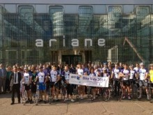 BT Employees cycle from Paris to London to support a better future for younger generations
