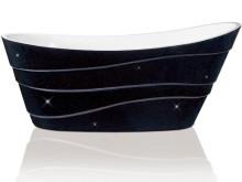 Varför måste badkar vara vita? Skånska Byggvaror lanserar svarta badkar med stjärnglitter