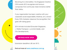 Singapore Creative CSR Awards 2015 - Call for Entry OPEN!