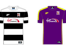 Darlington FC: Virgin Trains home and away shirts