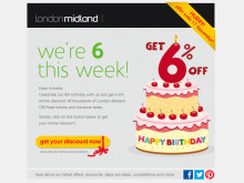 Happy Birthday - Save 6% on Rail Fares