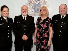 Left to right: AC Helen King, SC Robert Harrild, Vivienne Harrild (SC Harrild's wife), Chief Officer of the MSC, John Conway.