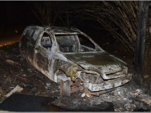 Burnt Vauxhall van