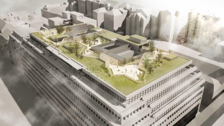 Arkitektskiss över Diligentias kommande takpark på Sveavägen 44