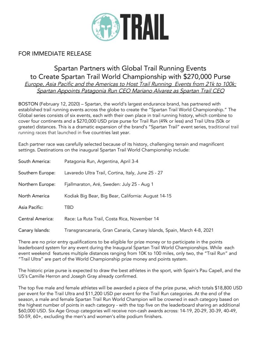 Spartan Trail World Championship announcement
