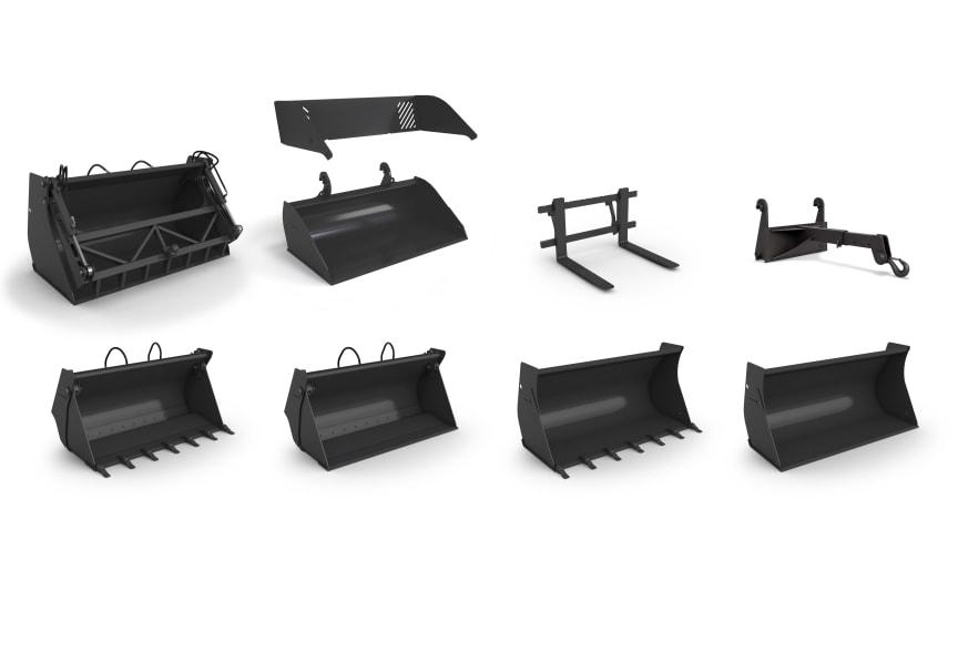 Volvo kompakthjullastare - sortiment av redskap