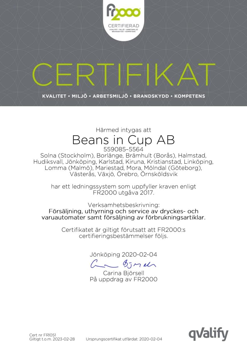 Certifikat FR2000