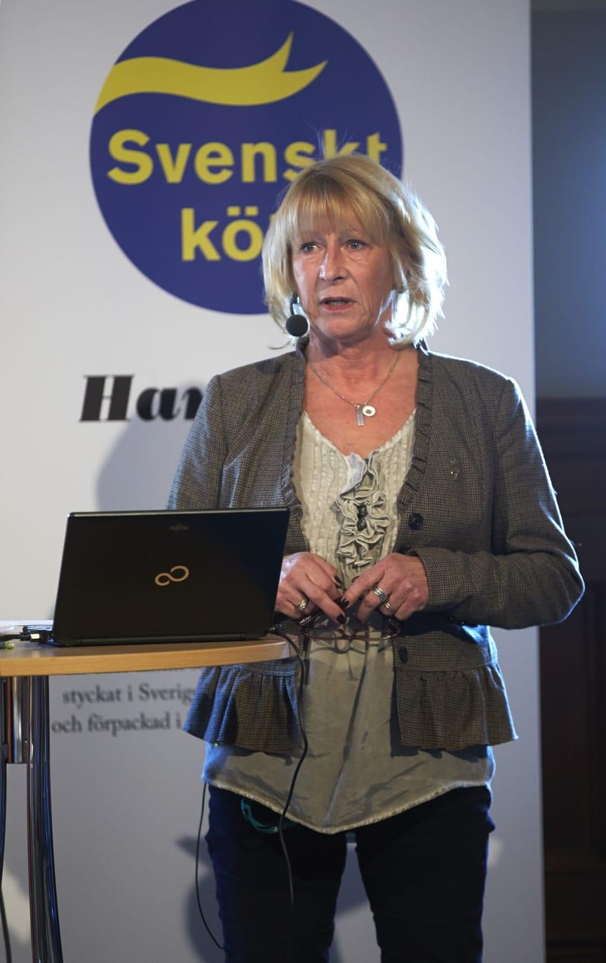 Margaretha Åberg, Sveriges Grisföretagare, på Svenskt Kötts pressträff om svensk gris