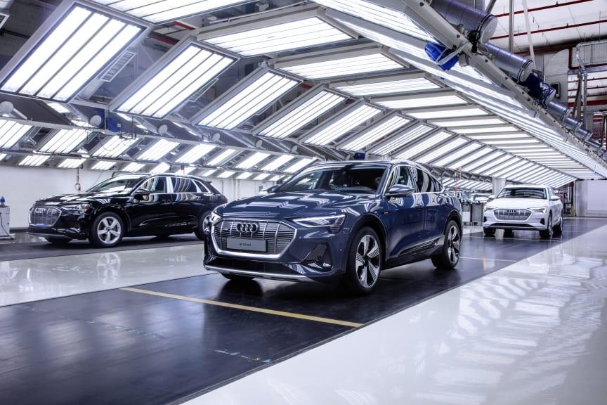 Audi e-tron Sportback på produktionslinjen på Audi-fabrikken i Bruxelles