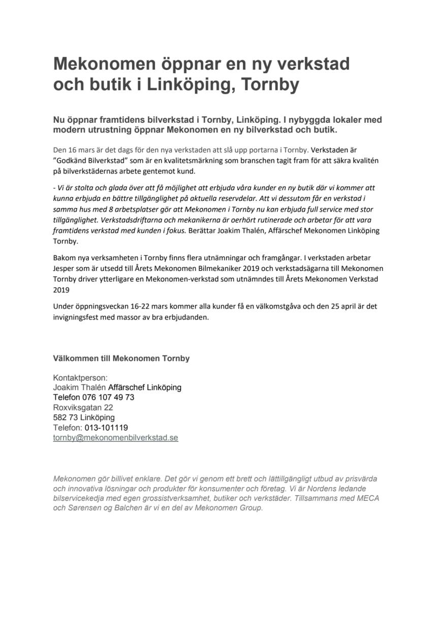 Pressmeddelande Mekonomen Linköping Tornby PDF
