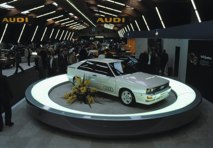 Audi Quattro på Geneve Motor Show i 1980