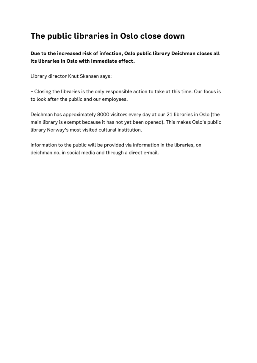 Press release: The public libraries in Oslo close down