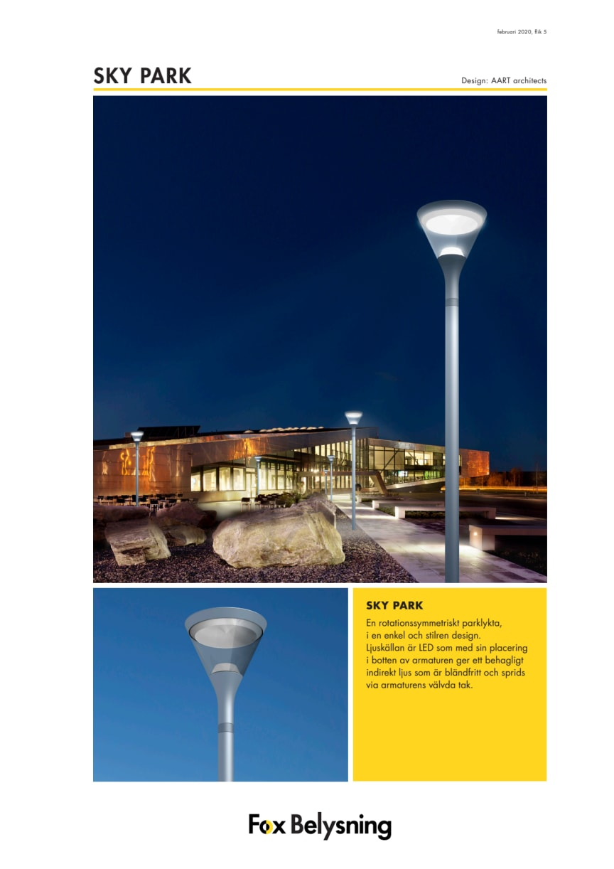 SKY Park produktblad 2020