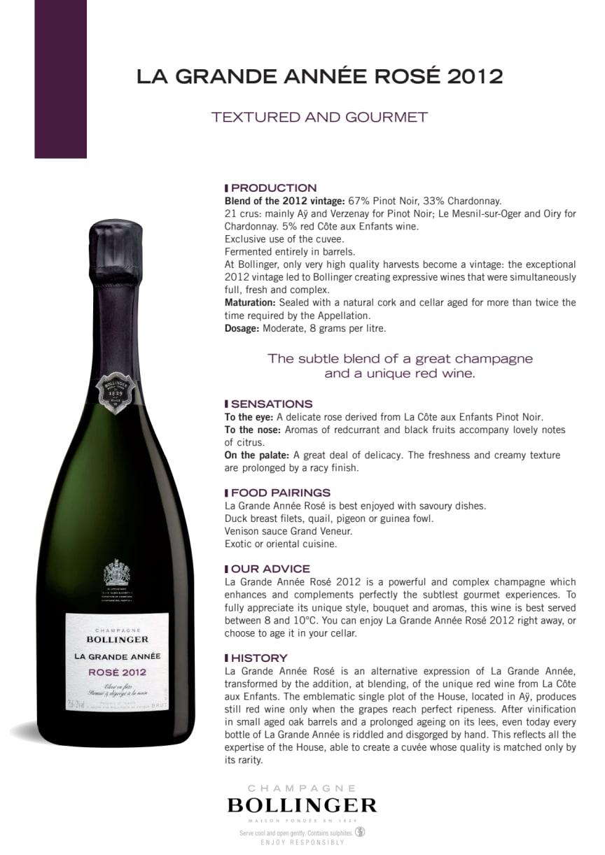 Produktblad Bollinger La Grande Année Rosé 2012