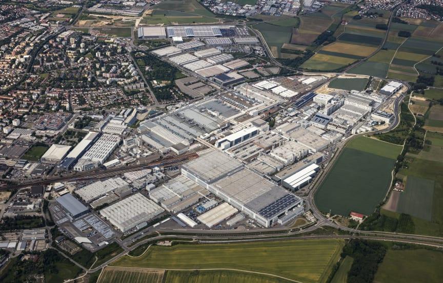 Luftfoto af Audis fabrik i Ingolstadt