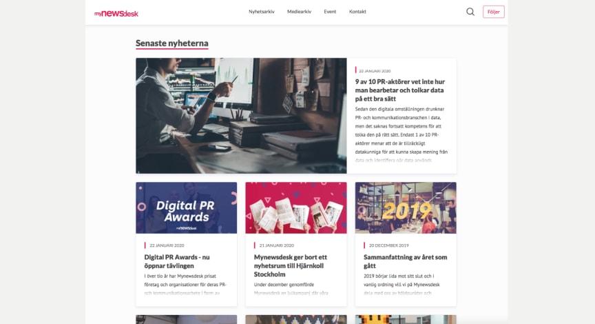 Ny design på hela Mynewsdesks plattform