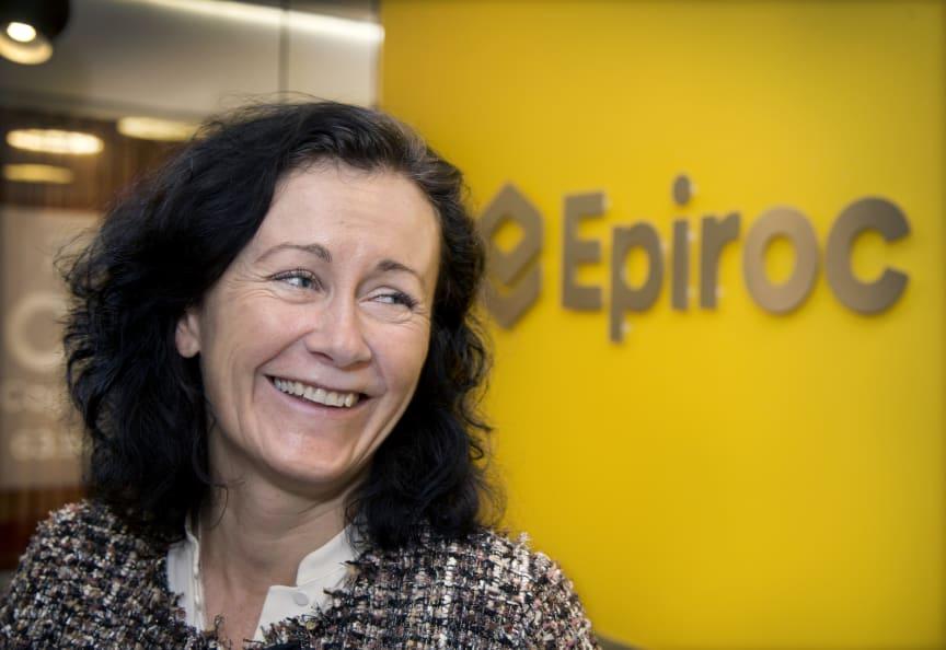 Helena Hedblom vd för Epiroc på huvudkontoret i Sickla