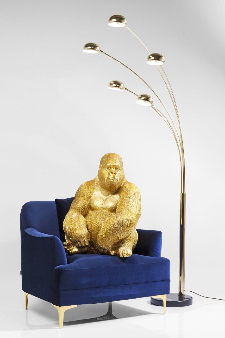 Deco Figurine Monkey Gorilla Side XL Gold