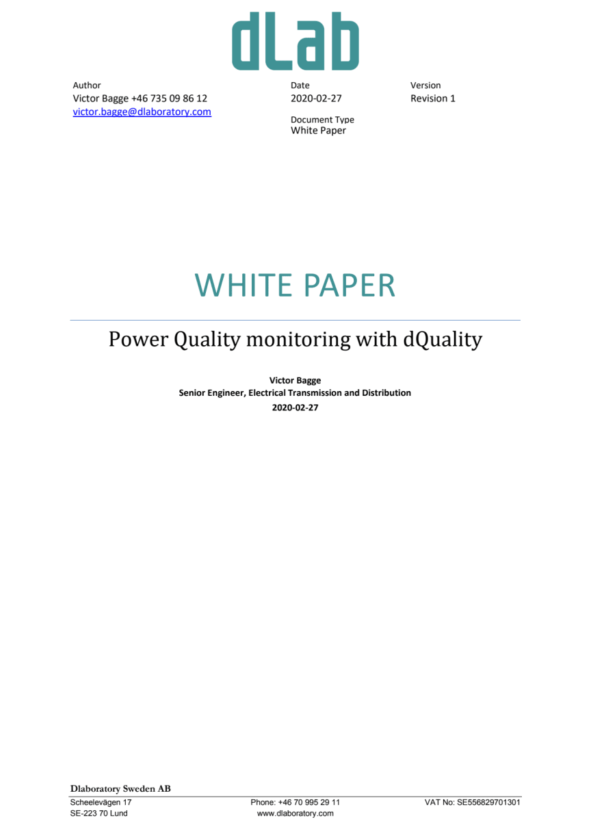 White paper dQuality 3.0