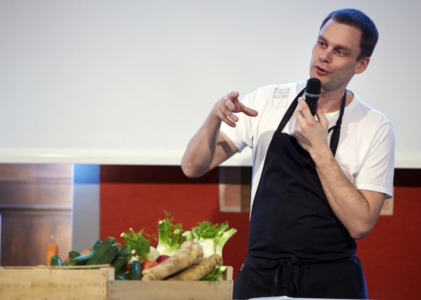Stefan Eriksson från Atelier Food på Svenskt Kötts pressträf om svensk gris