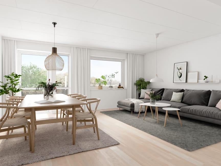 Brf Skogshem - 3D-bild av matrum och vardagsrum