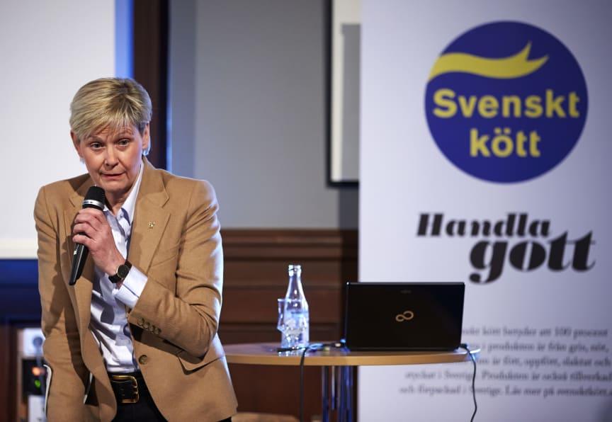 Maria Forshufvud på Svenskt Kötts pressträff om svensk gris