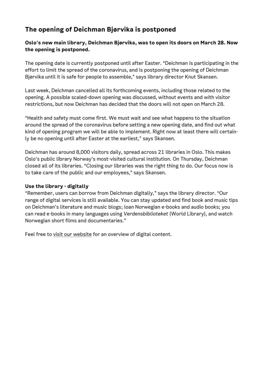 Press release: Postponed opening of Deichman Bjørvika