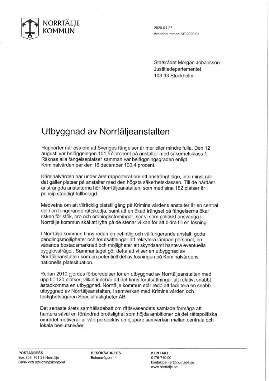 Brev till justitieministern om utbyggnad av Norrtäljeanstalten