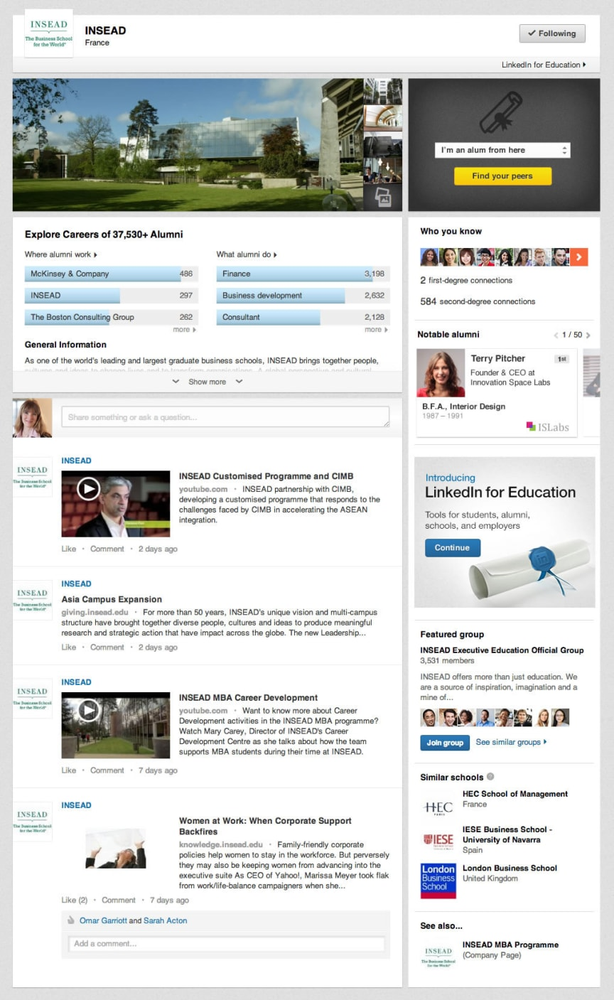 INSEAD University Page