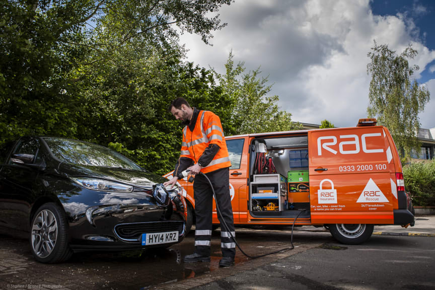 RAC's first EVRESCUE van charging a Renault Zoe