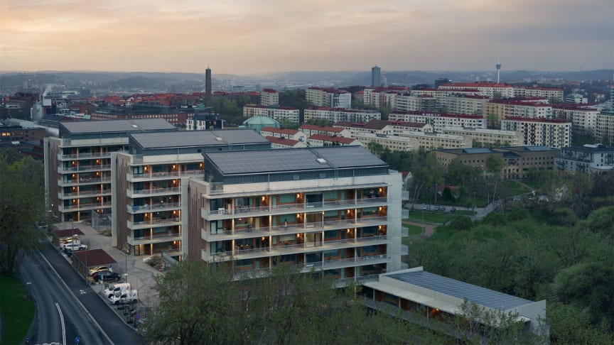 Brf Viva i Göteborg med solceller på taket
