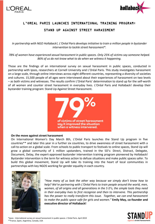 L'Oréal Paris launches international training program: stand up against street harassment
