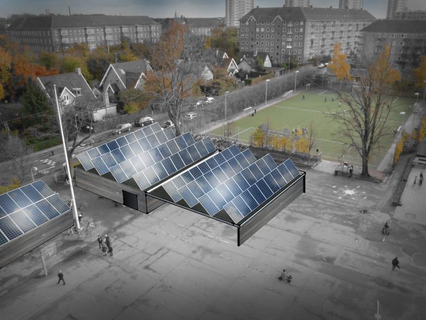 Solcelle-bygning på Søndermarksskolen på Frederiksberg