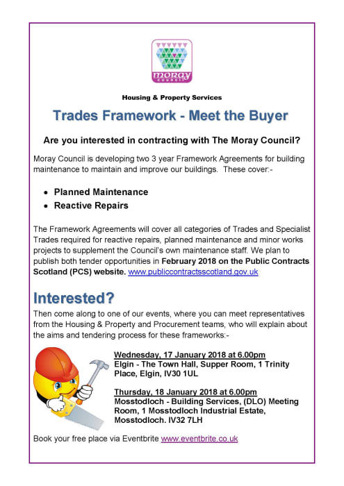 Events arranged to help local contractors contract for moray council local contractors keen to undertake work for moray council should come along to one of two information events being held next week platinumwayz