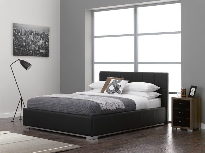 Fresh Dreams Warner faux leather and chrome bed frame Style - Inspirational chrome bed frame Modern