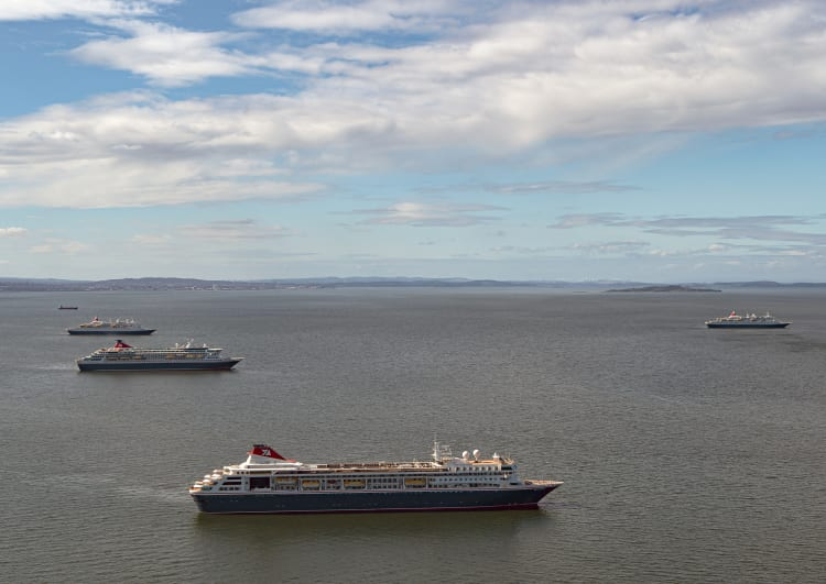 Fred. Olsen Cruise Lines' ocean fleet makes Scotland's Firth of Forth its temporary home (April 2020)