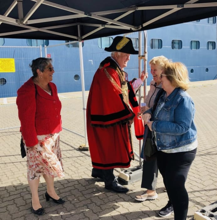 The Mayor of the Great Yarmouth Borough, Councillor Michael Jeal, and the Mayoress, wife Paula, greet Fred. Olsen guests, as they set off to explore Great Yarmouth and surrounding areas. [Photo credit: Fred. Olsen Cruise Lines]
