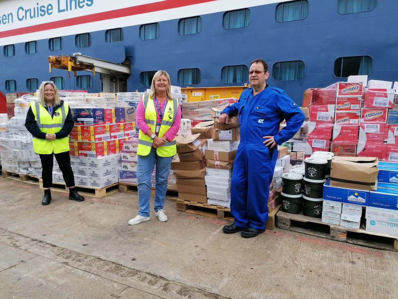 L-R: Pauline Robertson, Sailors' Society's Leith port chaplain; Teresa McGoldrick, Regional Food Officer Scotland for FareShare; and Robert McDonald, Executive Chef of the Balmoral, Fred. Olsen Cruise Lines