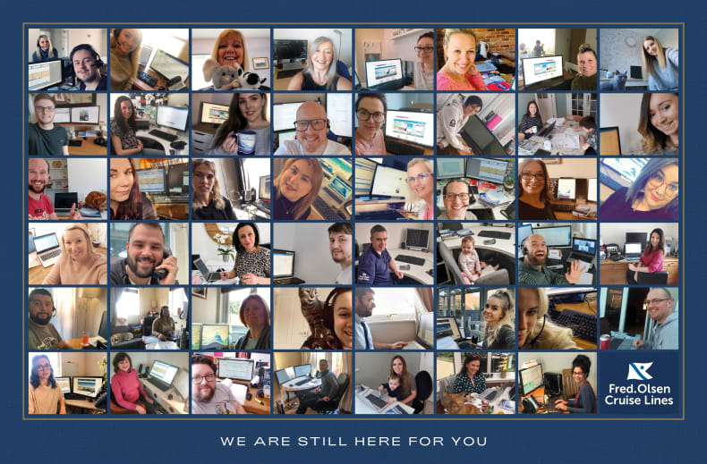 Fred. Olsen Cruise Lines share working from home pictures in show of support for guests and trade