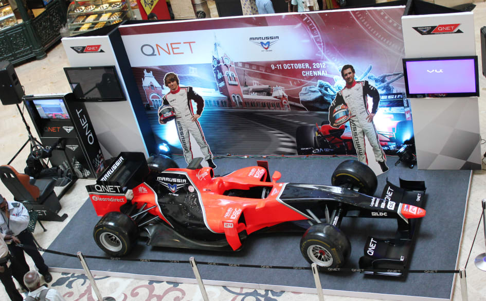 India Welcomes The QNETsponsored Marussia F Team Show Car Tour QNET - F1 show car