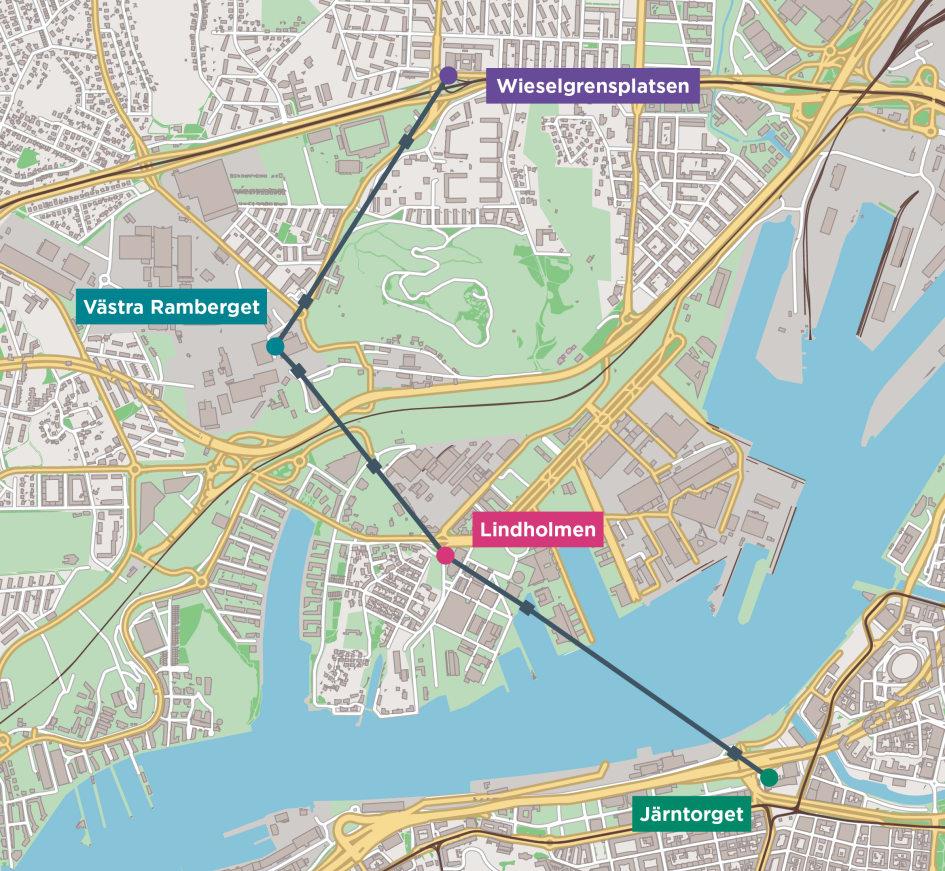 Karta Over Goteborgs Stadslinbanas Strackning Och Stationer