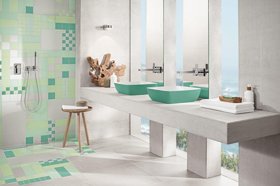 Une Céramique Colorée Dans La Salle De Bains Et La Cuisine Le - Salle de bains coloree