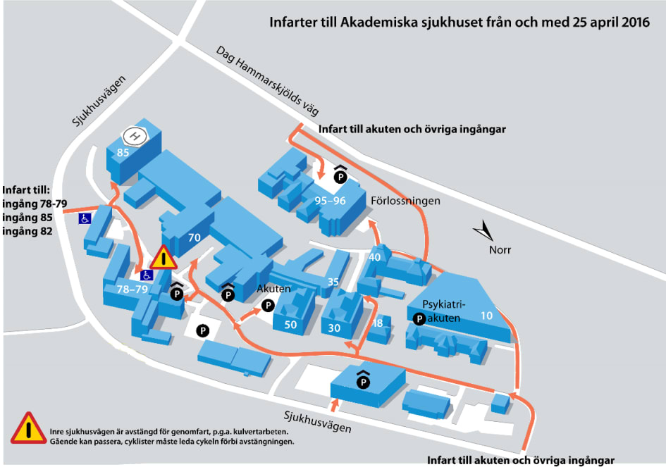 Inre Sjukhusvagen Stangs For Genomfart Akademiska Sjukhuset